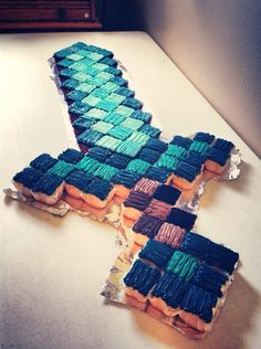 creative blue square minecraft sword cake for 2014 Halloween party