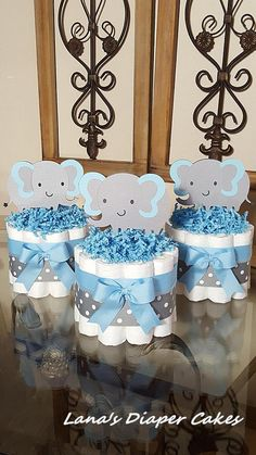 Set Of 3 Blue And Gray Elaphant Mini Diaper Cake Baby Shower.- Set Of 3 Blue And Gray Elaphant Mini Diaper Cake Baby Shower Centerpiece Set Of 3 Blue And Gray Elaphant Mini Diaper Cake Baby Shower Centerpiece - Regalo Baby Shower, Idee Baby Shower, Baby Shower Diapers, Baby Shower Cakes, Baby Boy Shower, Baby Shower Gifts, Baby Gifts, Baby Shower Decorations For Boys, Boy Baby Shower Themes