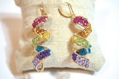 Rainbow :Ruby, Citrine, Yellow Sapphire, Peridot, Neon Apatite, Amethyst, Pink Amethyst Spiral Earrings by Paileys Handmade Jewelry Co.