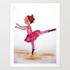 The Little Ballerina Art Print by Natalie Murray - $18.00 Ballerina Art, Little Ballerina, Disney Characters, Fictional Characters, Art Prints, Disney Princess, Artwork, Painting, Art Impressions