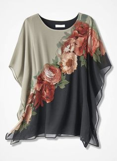 Find classic and comfortable women's plus size shirts at Coldwater Creek.A sophisticated statement, this slipover poncho-style tunic showcases exquisitely detailed blossoms front and back.Explore a timeless collection of women's plus size tunics at C Blouse Styles, Blouse Designs, Short Sleeve Blouse, Short Sleeves, Black Blouse, Fashion Outfits, Womens Fashion, Shirt Blouses, Tunic Blouse