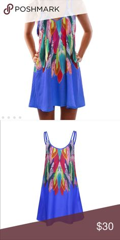 cf9b49e1abde5 🎉HP🎉 Boho Sleeveless Feather Dress Gorgeous boho summer dress with  vibrant colors. Multiple sizes and always get amazing compliments.