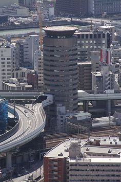 exqui image, roads, Gate Tower, Highway Through The Building - Japan, osaka