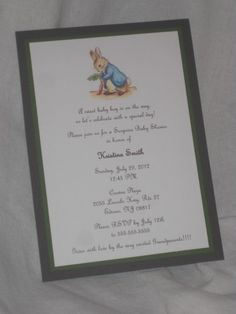 Peter Rabbit Baby shower...this is not a hint mom.