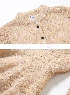 Shop Khaki Party Lace Stand Collar Skater Dress at EZPOPSY. Skater Dresses, Maxi Skirts, Frock For Women, Royal Clothing, Khaki Dress, Hijab Fashion, Frocks, Fashion Online, Fashion Ideas