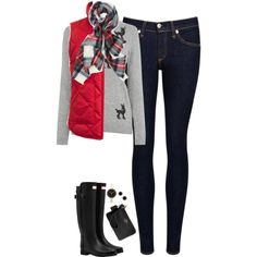 Reindeer sweater, plaid scarf & red vest by steffiestaffie on Polyvore featuring Warehouse, J.Crew, rag & bone/JEAN, Hunter, Coach, Marc by Marc Jacobs and Kate Spade
