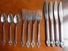 Lot 11 Rogers Oneida Danish Court Stainless 1881 Knife Salad Fork Teaspoon 1973  #OneidaRogers1881 Dining Room Table, Fork, Danish, Salad, Crystals, Unique, Vintage, Beautiful, Dining Table