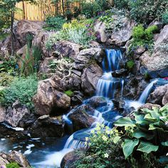 A water feature with a pair of falls - Sunset