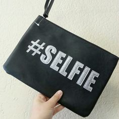 Black and gray #selfie clutch Black and gray #selfie clutch | dimensions  8?11 inch| medium size| shimmery  gray lettering |no trades  | bundles  welcome pinkiosk Bags