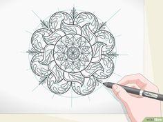 3 formas de dibujar mandalas - wikiHow Mandala Art Lesson, Mandala Drawing, Doodle Girl, Doodle Art Designs, Mandala Coloring, Zentangle Patterns, Diy Arts And Crafts, Dot Painting, Hand Henna
