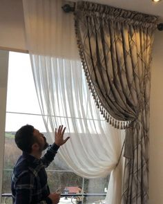 Curtain Designs For Bedroom, Drapery Designs, Bedroom Curtains With Blinds, Curtains Living, Tulle Curtains, White Bedroom Decor, Bedroom Wall Colors, Elegant Curtains, Modern Curtains