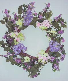 Spring to Summer Floral Wreath Lavender, Yellow & Shades of Pink Hydrangeas along with other plastic silk vines on a grapevine wreath base Pink Hydrangea, Hydrangeas, Yellow Shades, Spring Door Wreaths, Grapevine Wreath, Vines, Lavender, Floral Wreath, Base