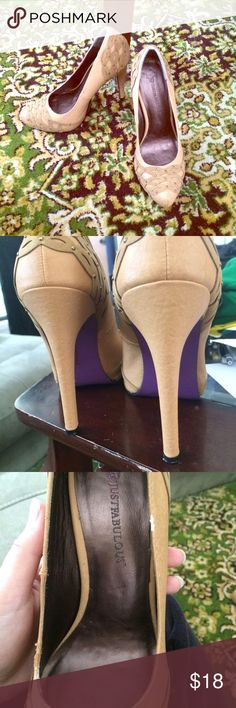 "Just Fab Platform Heels Tan heels, only signs of wear are on rims. Heels are perfect. Gorgeous purple soles! 4"" heel with 1"" platform JustFab Shoes Platforms"