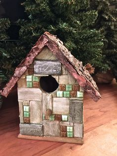 Glass Tile Birdhouse Bird house Wood Birdhouse Patio Lawn & Garden Michelle Dornstreich by BirdhousesByMichelle on Etsy