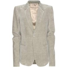 Rick Owens Velvet Blazer (¥95,295) ❤ liked on Polyvore featuring outerwear, jackets, blazers, grey, grey blazer jacket, grey velvet blazer, gray blazer, velvet blazer and gray jacket