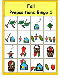 Chapel Hill Snippets: Fall Prepositions Bingo---free printable! Pinned by SOS Inc. Resources. Follow all our boards at pinterest.com/sostherapy/ for therapy resources.