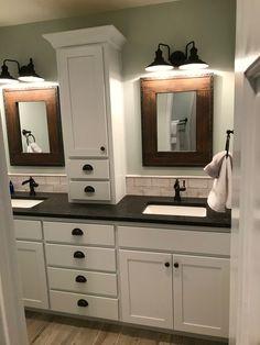 bathroom makeover Great bathroom wall cabinets mahogany just on homesaholic home design Bathroom Wall Cabinets, Bathroom Renos, Bathroom Renovations, Small Bathroom, Attic Bathroom, Bathroom Makeovers, Bathroom Modern, Minimalist Bathroom, Bathroom Hardwood Floor