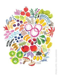 Bright Fruits and Veggies Print by PenelopeDullaghan on Etsy