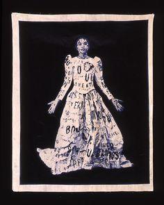 Lesley DillDada Poem Wedding Dress, 1997Photo litho on muslin and Hindi newspaper (via LESLEY DILL : PRINTMAKING : LANDFALL PRESS)