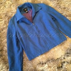 """Blue peacoat jacket This peacoat jacket is a beautiful blue color, zipper closure, 2 faux pockets on the front. Button closures on the wrists and waist. Length: 21"""", bust: 19.5"""", sleeve length: 23"""". Perfect condition. This item is used and may have imperfections, no known imperfections Limited America Jackets & Coats Pea Coats"""