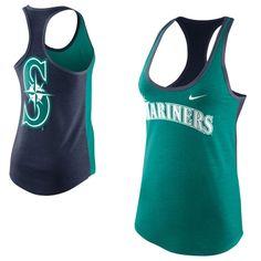 Nike Seattle Mariners Women's Tri-Blend Loose Fit Racerback Tank - Green/Navy Blue