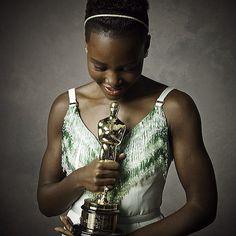 Lupita in the Vanity Fair Oscars photo booth