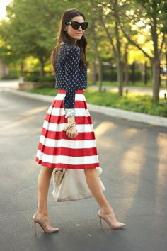 Red and white striped midi skirt