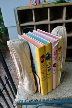 Vintage Handmade Ballet/Point Shoe Bookends, Child/Nursery Decor via Etsy