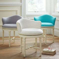 Create a comfy hangout space with Pottery Barn Teen's lounge seating and teen lounge chairs. Shop teen room chairs in many styles, and colors. Furniture Vanity, Vanity Stool, Bedroom Furniture, Vanity Chairs, Vanity Seat, Plywood Furniture, Bath Stool, Ikea Vanity, Furniture Design