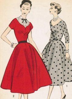Vintage 1954 Advance 6856 Sewing Pattern Misses' Dress and Dickey Size 12 Bust 30