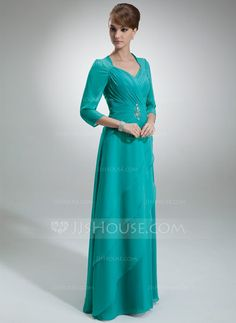 A-Line/Princess Sweetheart Floor-Length Chiffon Mother of the Bride Dress With Ruffle Beading (008005695) - JJsHouse