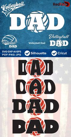 Volleyball Dad - Father's Day, SVG Cut File, DXF, Png, Eps, Pdf, Ai, Cricut, Silhouette Studio, Instant Download by RedFoxDesignShop on Etsy