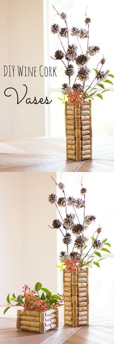 Spring Craft Ideas: DIY Wine Cork Vases | Easy DIY Wine Cork Crafts by DIY Ready at http://diyready.com/more-wine-cork-crafts-ideas/