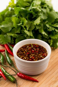 Thai Dipping Sauce (Nam Pla Prik) This sweet and spicy Thai dip sauce is the perfect complement to salads, meat … Thai Dipping Sauce, Thai Sauce, Spicy Sauce, Thai Chili Fish Sauce Recipe, Spring Roll Dipping Sauce, Recipes With Fish Sauce, Thai Recipes, Sauce Recipes, Asian Recipes