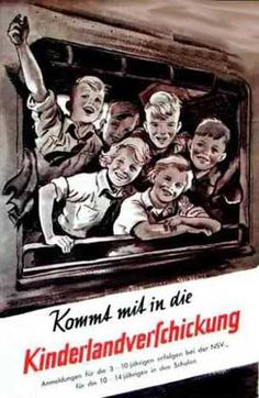 """Come with me to the Kinderlandverschickung"" a form of children's evacuation where children were sent to the country to live in foster homes. Germany c. 1942"