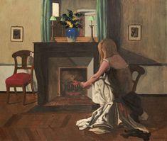 Interior With A Woman In A Shirt (Felix Vallotton - )