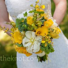 Yellow Wedding Bouquet Brianne wanted her yellow and green bouquet to be wild (instead of controlled and structured) and full of yellow and green succulents. Yellow Wedding Flowers, Bridal Flowers, Flower Bouquet Wedding, Bridesmaid Bouquet, Wedding Colors, Yellow Flowers, Wedding Ideas, Wild Flowers, Marigold Wedding