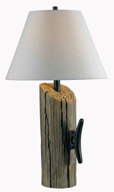 Cole Table Lamp - A beautifully created faux wood pylon looks like it came right off a dock. The Nautical theme is as popular as ever, and the Cole lamp ties into that nicely. #interior #design #nautical