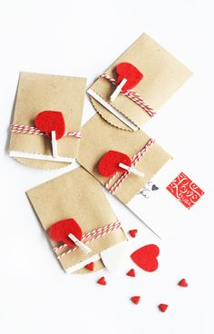 """Anna of """"In Honor Of Design"""" has this cute and clever """"Mini Package Valentines"""" with complete instructions. Valentine's Day is exploding over the Internet. Hate Valentines Day, Diy Valentines Cards, My Funny Valentine, Valentine Day Crafts, Holiday Crafts, Valentines Day Package, Tarjetas Diy, Valentine's Day Crafts For Kids, Valentine's Day Diy"""