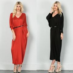 """Trombone"" Belted Dolman Sleeve Maxi Dress Dolman sleeve belted maxi dress. Available in rust and black. This listing is for the RUST. Brand new. True to size. NO TRADES DON'T ASK. Bare Anthology Dresses Maxi"