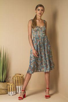 Midi floral dress.
