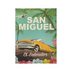 San Miguel El Salvador vintage travel poster Wood Poster
