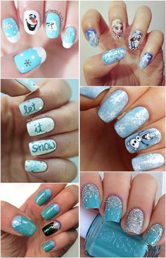 """20 Amazing """"Frozen"""" Nail Art Designs (with Tutorial)   http://www.meetthebestyou.com/20-amazing-frozen-nail-art-with-tutorial/"""