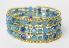 Sea Glass Starfish and Gold Beads Beaded Bangle by TheGirlOfSummer