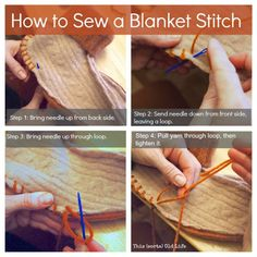 This (sorta) Old Life:  How to sew a blanket stitch. Links to a tutorial on slippers made from old sweaters.