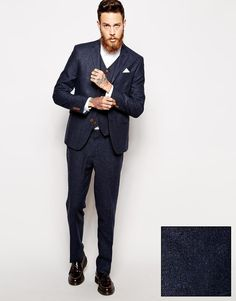 Image 1 of ASOS Skinny Fit Suit in Herringbone in Navy