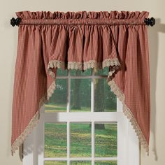 Crochet Check Country Style Curtains Collection | Sturbridge Yankee Workshop