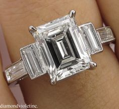GIA 3.11ct Antique Vintage Art Deco Emerald cut Diamond Engagement Wedding Platinum Ring by DiamondViolet on Etsy https://www.etsy.com/uk/listing/561401633/gia-311ct-antique-vintage-art-deco