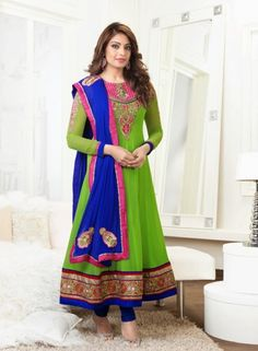 Anarkali Chudidar Suit In Green - Bipasha Basu GF142142