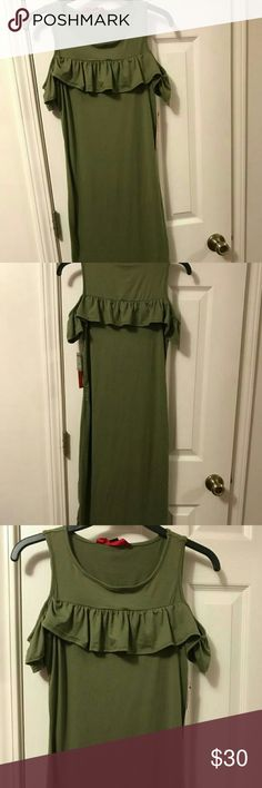 NWT Sage Green Cold Shoulder Midi Dress Sage green midi dress with ruffles. Super soft and cute. 92%Polyester 8%Spandex Make an offer Hot Kiss Dresses Midi